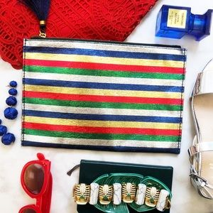 J. Crew Metallic Striped Clutch/Pouch for sale